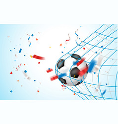 Goal concept leather soccer ball on a net vector