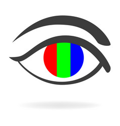 Graphic of an eye with rgb color vector