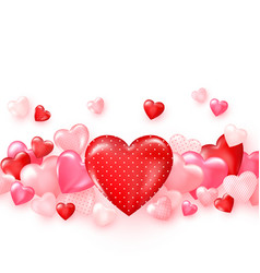 groupe glossy red hearts bright valentines day vector image