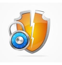 Hacker Attack Shield and Lock vector