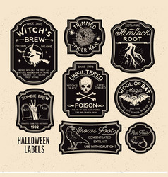 Halloween bottle labels potion labels vector
