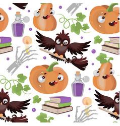 halloween owl pumpkin flat design seamless pattern vector image