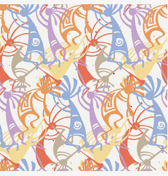 hand drawn kokopelli seamless pattern vector image