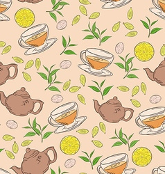 Hand drawn seamless pattern with coloured cup of vector