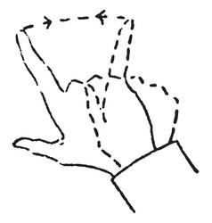 hand signal have a short horizontal line vintage vector image