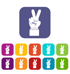Hand with victory sign icons set vector