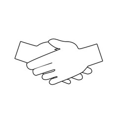 handshake friendship partnership stroke icon vector image
