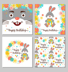 Happy birthday collection cards and seamless vector