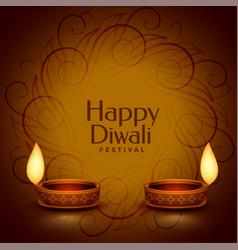 Happy diwali decorative realistic diya design vector