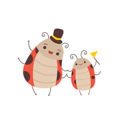 Happy ladybug family manly father ladybug vector