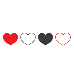 heart icon red white black symbol love simple vector image