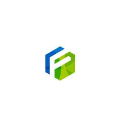hexagon letter f logo icon design vector image