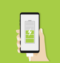human hand holding smartphone charging vector image