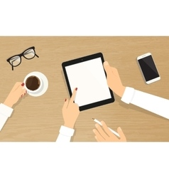 Human hands hold a tablet pc with empty display vector