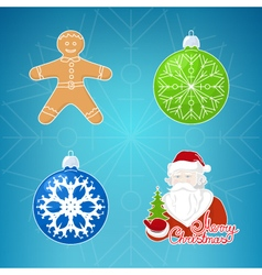 Icons on Blue BackgroundMerry Christmas vector image
