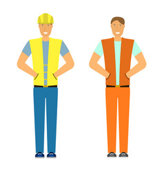 image of the builder and engineer isolated flat vector image