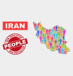 Iran map population people and scratched stamp vector