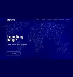 Landing page design with world map in the form vector