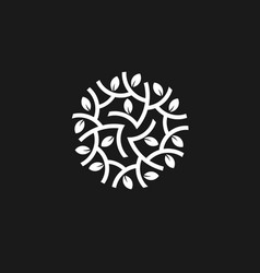 Leaves circle with black background logo concept vector