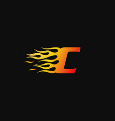 letter c burning flame logo design template vector image