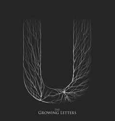 Letter u of branch or cracked alphabet u vector
