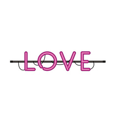 love label in neon light isolated icon vector image