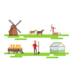 male farmer working at farm set eco farm elements vector image