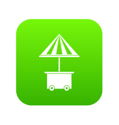 mobile cart with umbrella for sale food icon vector image