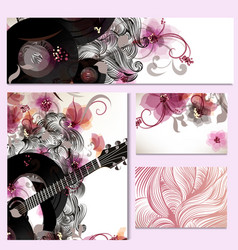 Music templates with guitar and swirls vector