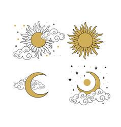 Mystical golden boho tattoos with sun crescent vector