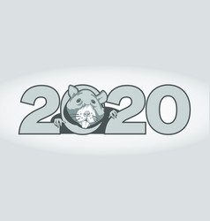 new year banner with digits 2020 and a mouse in vector image