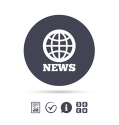News sign icon world globe symbol vector