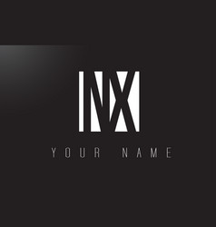 nx letter logo with black and white negative vector image