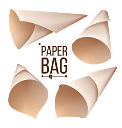 paper cone bag set package container sign vector image