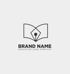 Pen book learning line logo template vector