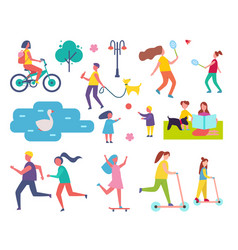 people in park resting icons vector image