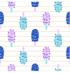 Popsicle fun bright seamless pattern ice vector