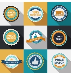 Quality Label Sign Set in Flat Modern Design with vector image