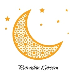 Ramadan Kareem moon with muslim ornament greeting vector