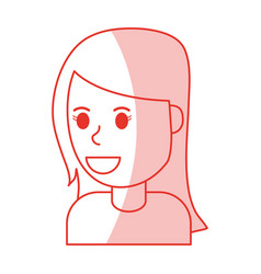 Red shading silhouette cartoon side view half body vector