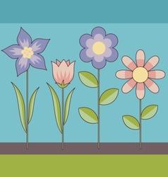 retro flowers vector image vector image