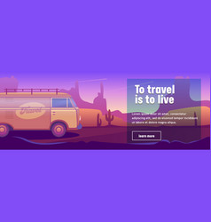 Retro hippie classic travel bus desert landscape vector