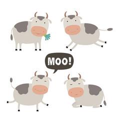 set cartoon a cute cow vector image