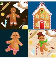 Set christmas cookies gingerbread man and girl vector