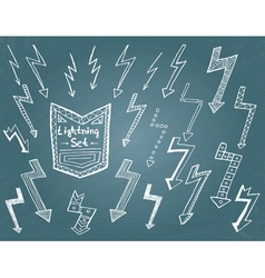 Set of hand drawn lightning vector image
