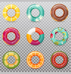set of isolated rubber swimming rings vector image
