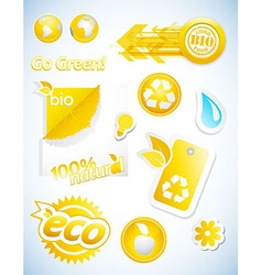 Set of yellow ecology icons vector image