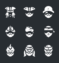 set pirate icons vector image