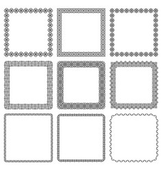 Set square frames with oriental motif vector