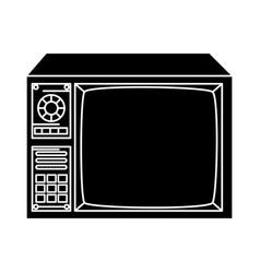 Silhouette tv nineties retro style vector